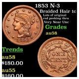 1853 N-3 Braided Hair 1c Grades Choice AU/BU Slide