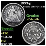 1853-p Seated Liberty 1/2 10c Grades vf details