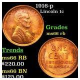 1916-p Lincoln 1c Grades GEM+ Unc RB