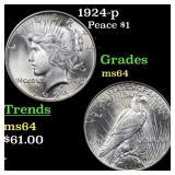 1924-p Peace $1 Grades Choice Unc