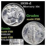 1938-d Mercury 10c Grades GEM+ FSB