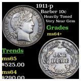 1911-p Barber 10c Grades Choice+ Unc