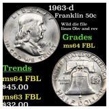 1963-d Franklin 50c Grades Choice Unc FBL