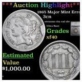 *Highlight* 1865 Major Mint Error 3cn Graded xf40