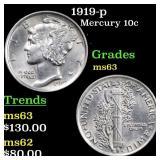 1919-p Mercury 10c Grades Select Unc