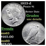 1923-d Peace $1 Grades Unc Details