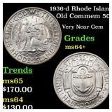 1936-d Rhode Island Old Commem 50c Grades Choice+