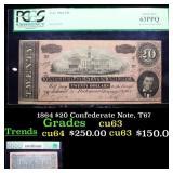 1864 $20 Confederate Note, T67 Graded cu63 By PMG