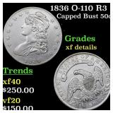1836 O-110 R3 Capped Bust 50c Grades xf details