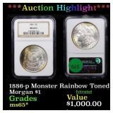 *Highlight* 1886-p Monster Rainbow Toned Morgan $1