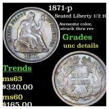 1871-p Seated Liberty 1/2 10c Grades Unc Details