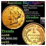 *Highlight* 1849C Closed wreath TY1 Charlotte G$1