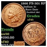 1866 FS-301 RPD Indian 1c Grades xf+