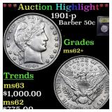 *Highlight* 1901-p Barber 50c Graded Select Unc