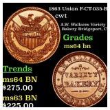 1863 Union F-CT-035-B-1 cwt Grades Choice Unc BN