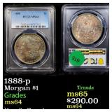 1888-p Morgan $1 Graded ms64
