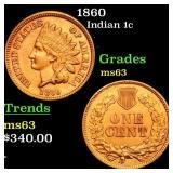 1860 Indian 1c Grades Select Unc