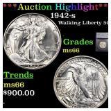 *Highlight* 1942-s Walking Liberty 50c Graded ms66