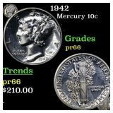 1942 Mercury 10c Grades GEM+ Proof