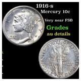 1916-s Mercury 10c Grades AU Details