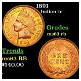 1891 Indian 1c Grades Select Unc RB