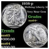 1938-p Walking Liberty 50c Grades Choice+ Unc