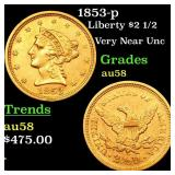 1853-p Liberty $2 1/2 Grades Choice AU/BU Slider