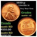 1920-p Lincoln 1c Grades Choice+ Unc RD