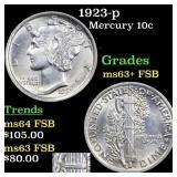 1923-p Mercury 10c Grades Select Unc+ FSB