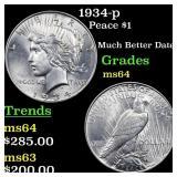 1934-p Peace $1 Grades Choice Unc