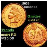 1909 Indian 1c Grades Choice Unc RD