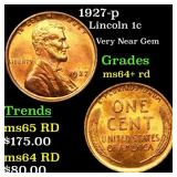 1927-p Lincoln 1c Grades Choice+ Unc RD
