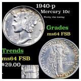 1940-p Mercury 10c Grades Choice Unc FSB