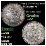1888-p Colorfully Toned Morgan $1 Grades Choice AU