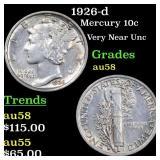 1926-d Mercury 10c Grades Choice AU/BU Slider