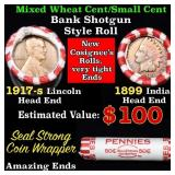Mixed small cents 1c orig shotgun roll, 1917-s Whe