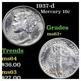 1937-d Mercury 10c Grades Select+ Unc