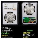 1885-p Morgan $1 Graded ms65