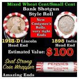 Mixed small cents 1c orig shotgun roll, 1913-d Whe