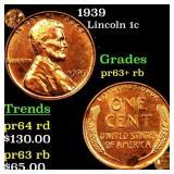 1939 Lincoln cent 1c grades select unc Proof+