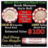 Mixed small cents 1c orig shotgun roll, 1919-d Whe