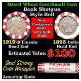 Mixed small cents 1c orig shotgun roll, 1919-s Whe