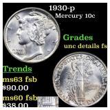 1930-p Mercury Dime 10c Grades Unc Detail FSB
