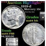 *Highlight* 1919-d Mercury 10c Graded ms64 fsb