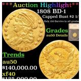 *Highlight* 1808 BD-1 Capped Bust $2 1/2 Graded au