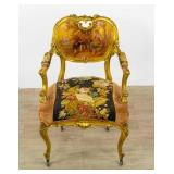 Louis XV Style Gilt Open Arm Chair
