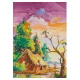 20th Century Acrylic on Canvas African Village