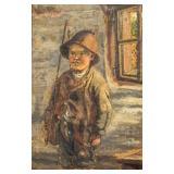 Oil on Board Portrait of a Boy in Fishing Attire