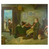 Oil on Canvas, Interior Scene