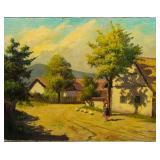 Bela Barsi Oil on Canvas Village Landscape
